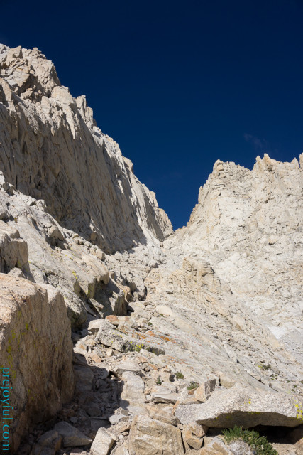 The gully with Mt. Whitney's East Buttress rising on the left.
