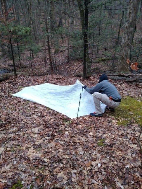 Setting up the YAMA Cirriform tarp.