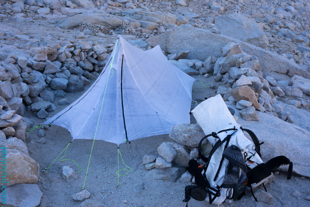 Packs and YAMA tarp at Iceberg Lake (12700 ft) below Mt. Whitney.