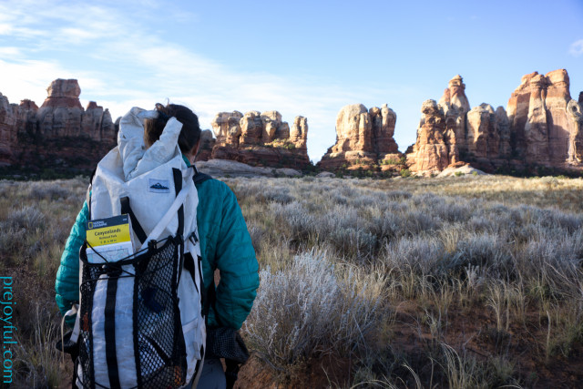 Annie's pack trimmed down for a two-day trip in Canyonlands' Needles District.