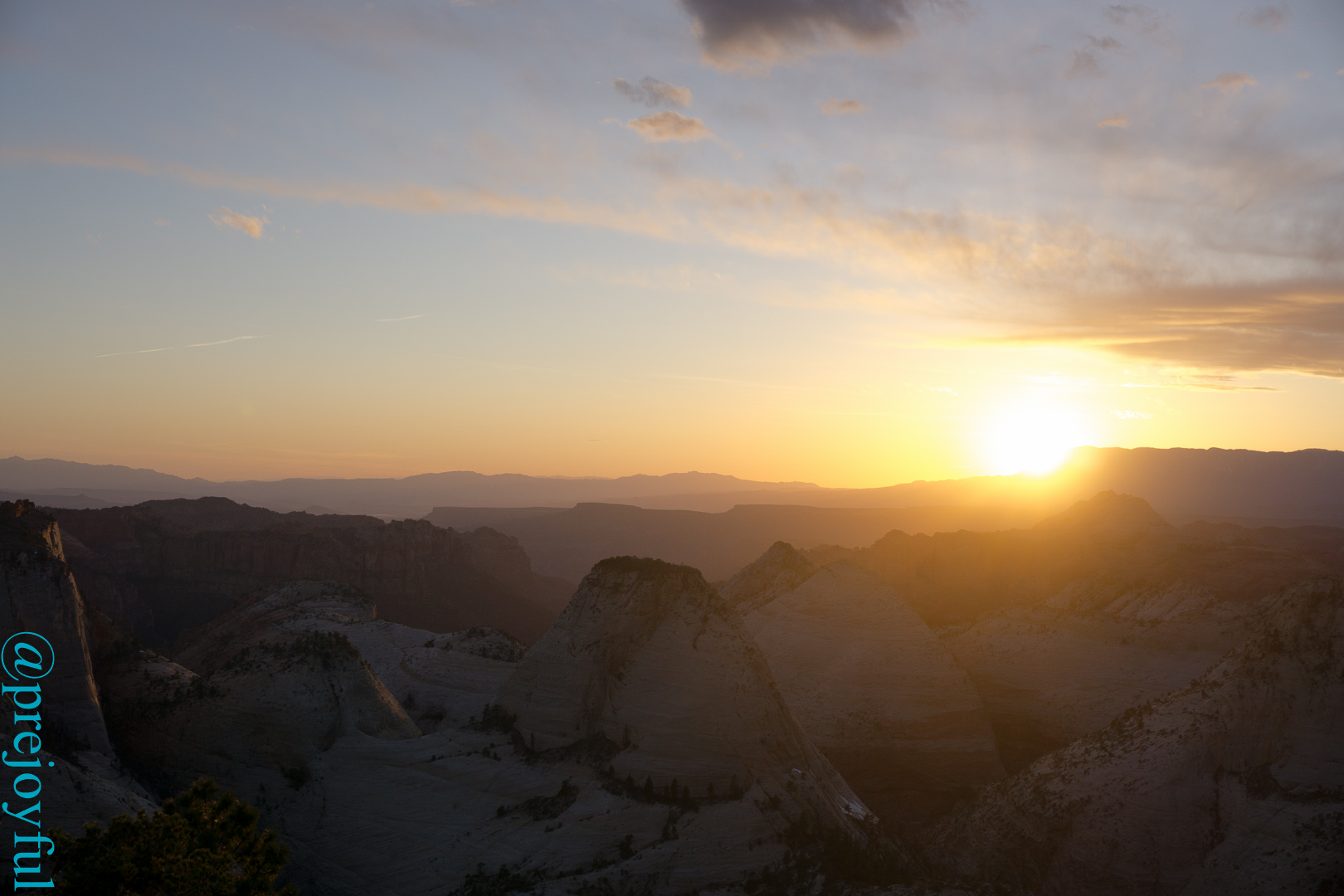 Sunset over the western canyons.