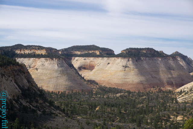 Checkerboard Mesa from the East Rim Trail.